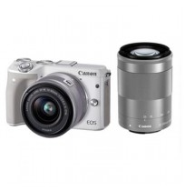 CANON EOS M3 White with EF-M15-45mm/55-200mm